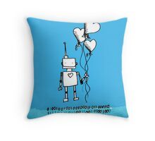 Robots love to surprise their girlfriends Throw Pillow