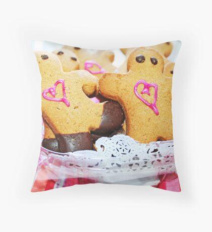 Pink Heart Gingerbread Men Throw Pillow