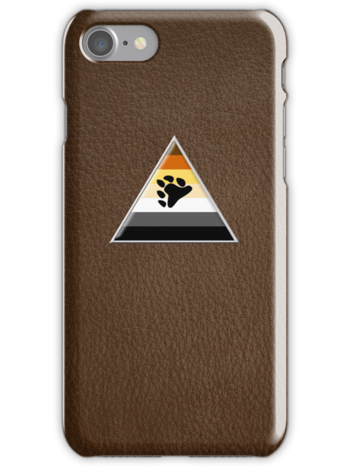 Bear Triangle on Brown Leather by x-pressions