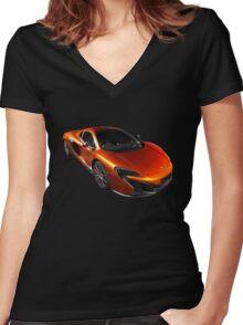 McLaren 650S 2015 - Tee / Sticker Design - Volcano Orange Supercar Women's Fitted V-Neck T-Shirt