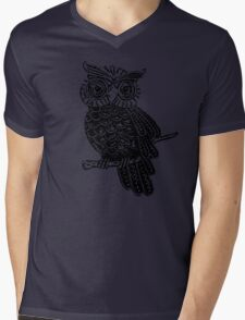 Cute Owl On Tree Mens V-Neck T-Shirt