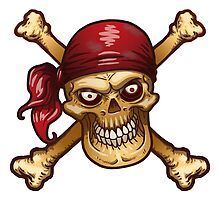 Dead Men Tell No Tales. Pirate skull with red bandanna by headpossum