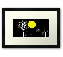 Trees and Full Moon Night Framed Print