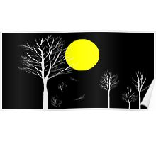 Trees and Full Moon Night Poster