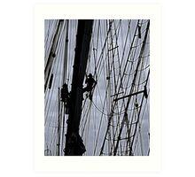 Sailing ship maintenance  Art Print