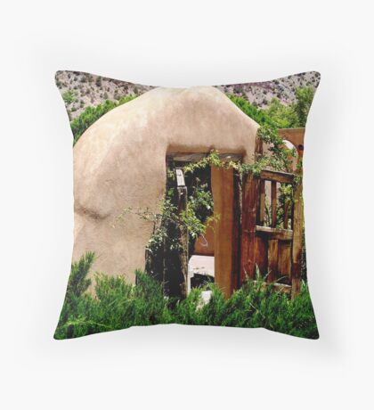 Adobe and wood Throw Pillow