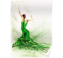 Bailaora de flamenco - Verde Poster