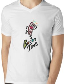 Bacon Time Mens V-Neck T-Shirt