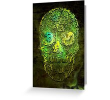 Typography Skull Green Greeting Card