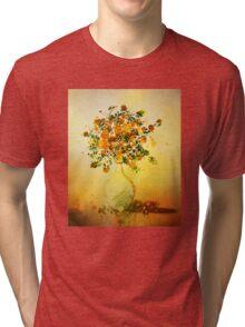 Orange Flowers in Vase Tri-blend T-Shirt