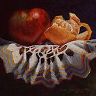 Still Life Apple Orange Original Pastel Painting by Sue Deutscher