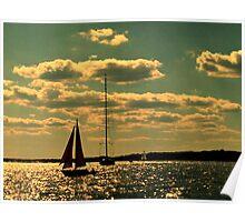 Sailing at Sunset, Narragansett Bay Poster