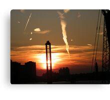 Jersey City, New Jersey Sunset Over New Jersey, Manhattan View  Canvas Print