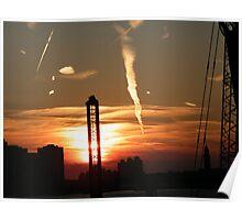 Jersey City, New Jersey Sunset Over New Jersey, Manhattan View  Poster