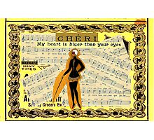My Heart Is Bluer Than Your Eyes (Surrealist Collage)  Photographic Print