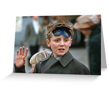 Lad at changing of the guard Buckingham Palace  19570830 0007 Greeting Card