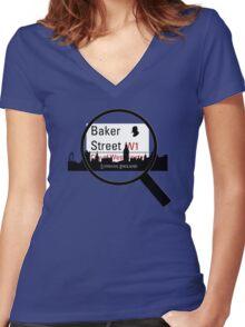 Baker Street Magnifier  Women's Fitted V-Neck T-Shirt
