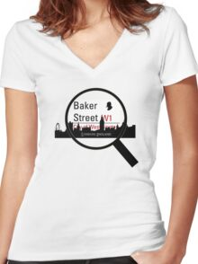 Baker Street Magnifier  Women's Fitted V-Neck T-Shirt