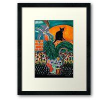 Walled Garden, Black Cat and Setting Sun Framed Print