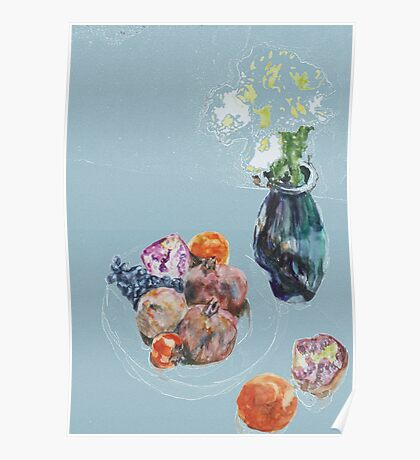 pomegranates & flowers in vase,  persimmons & orange Poster