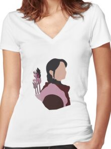 Katniss in Purple Women's Fitted V-Neck T-Shirt