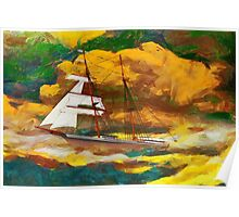 A digital painting of Mary Celeste in the rig she wore when found in 1872 Poster