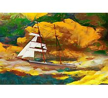 A digital painting of Mary Celeste in the rig she wore when found in 1872 Photographic Print
