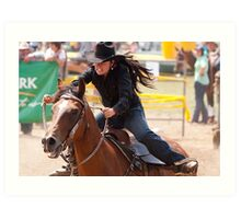 Taralga Rodeo - female rider Art Print
