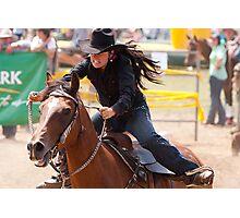 Taralga Rodeo - female rider Photographic Print