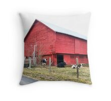 Cows By The Barn Throw Pillow
