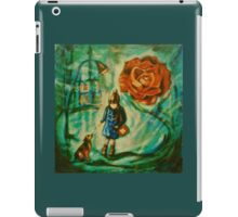 Little Girl w Dog Red Rose Lamppost Painting iPad Case/Skin