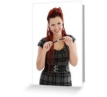 Beautiful smiling girl with pen  Greeting Card