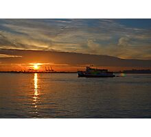 Sunset over Port Elizabeth, NJ Photographic Print