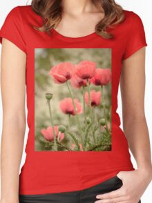 Oriental poppies patterns Women's Fitted Scoop T-Shirt