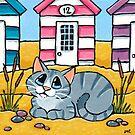 Tabby Cat Outside Beach Hut 12 by Lisa Marie Robinson