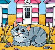 Tabby Cat Outside Beach Hut 12 by Lisa Marie Robinson