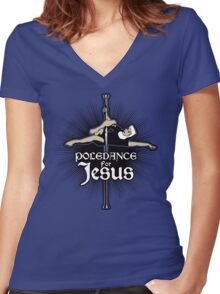 Poledance For Jesus Women's Fitted V-Neck T-Shirt
