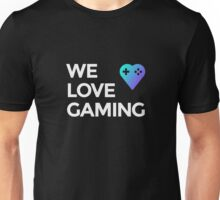 Blue We Love Gaming Heart + Text Unisex T-Shirt