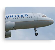 Nose Shot N467UA United A320-232 Approach Canvas Print