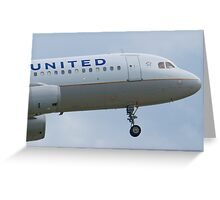 Nose Shot N467UA United A320-232 Approach Greeting Card
