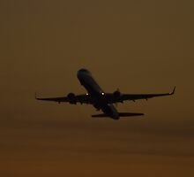 N663DN Delta Airlines Boeing 757-232 Taking Off at Sunrise by Henry Plumley