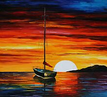 FISHING DOWN THE SUNSET - LEONID AFREMOV by Leonid  Afremov