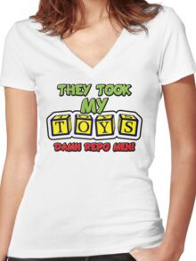 They Took My Toys Women's Fitted V-Neck T-Shirt