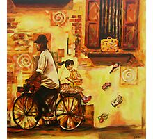 School Girl on Bicycle Chinese Heritage Street Art Painting Photographic Print
