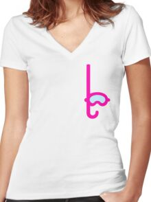 Pink Snorkel - Diver Pattern Women's Fitted V-Neck T-Shirt