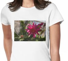 Vivacious Christmas Cactus Bloom Womens Fitted T-Shirt