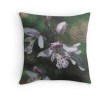 Round Leaf Orchid Throw Pillow