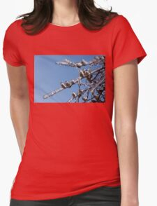 Mother Nature's Christmas Decorations – Glistening Twigs and Pine Cones Womens Fitted T-Shirt