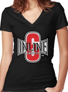 Inline 6 Society - Design #2 Women's Fitted V-Neck T-Shirt