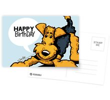 Airedale Terrier Funny Happy Birthday Cards Postcards